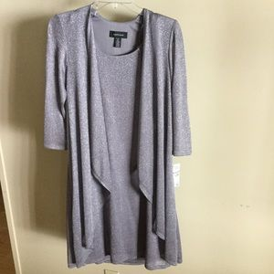 Knee length silver dress with sewn on cardigan